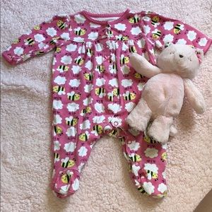Pink Bee Footed Bodysuit